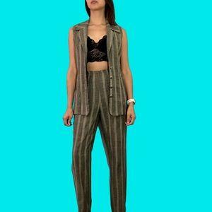 90's striped pant & top set